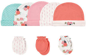 Hudson Baby Floral Cap & Scratch Mitten Set