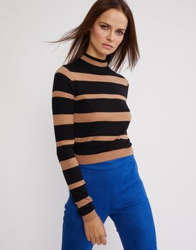 Cynthia Rowley Black and Beige Striped T-Neck Sweater