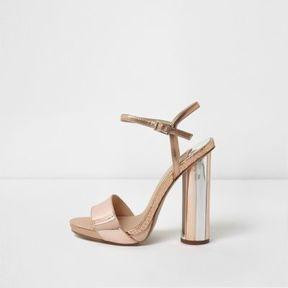 River Island Womens Rose gold tone metallic circle heel sandals