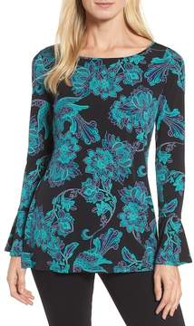 Chaus Bell Sleeve Floral Blouse