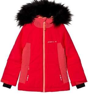 O'Neill Red Felice Fur Hoodie Ski Jacket