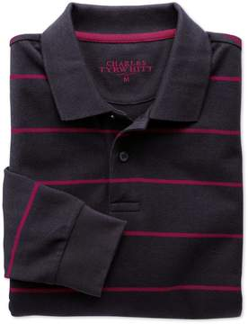 Charles Tyrwhitt Navy and Berry Stripe Pique Long Sleeve Cotton Polo Size Large