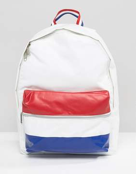 Le Coq Sportif White Leather Look Backpack With Tricolore Pocket