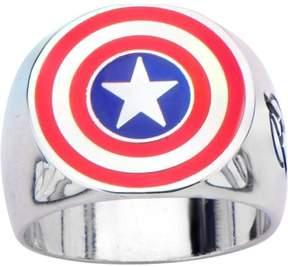 Marvel Men's Stainless Steel Captain America Shield Logo Ring