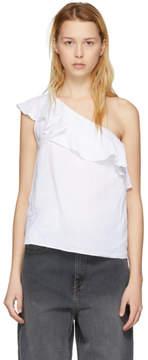 Etoile Isabel Marant White Thom Single-Shoulder Tank Top