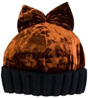 Federica Moretti velvet bow beanie