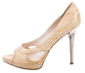 Christian Dior Snakeskin Peep-Toe Pumps