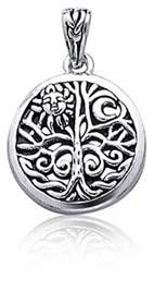 Celtic Bling Jewelry Open Sterling Silver Tree Of Life Sun Pendant.