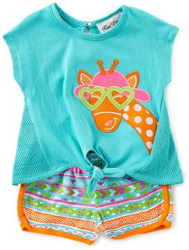 Rare Editions Baby Girls 12-24 Months Giraffe-Applique Tie-Front Tee & Printed Shorts Set