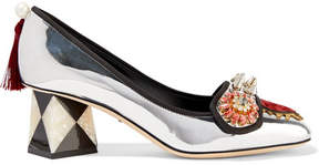 Dolce & Gabbana Embellished Appliquéd Mirrored-leather Pumps - Silver