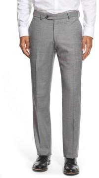 Ballin Men's Flat Front Sharkskin Wool Trousers