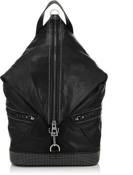Jimmy Choo FITZROY Black Satin Leather with Mini Studs Backpack