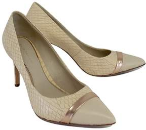 Elie Tahari Beige & Rose Gold Snakeskin Pumps