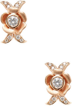 Artisan Women's 18K Rose Gold Flower Diamond Earrings