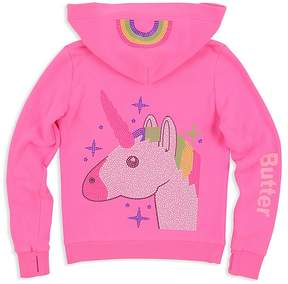 Butter Shoes Girls' Embellished-Unicorn Lace-Up Hoodie - Big Kid