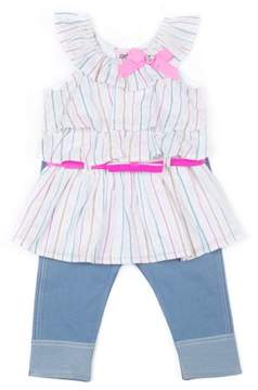 Little Lass Little Girls' 4-6X Metallic Stripe Tiered Top and Knit Denim Skimmer Legging 2-Piece Set