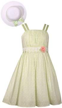 Bonnie Jean Girls 4-6x Pastel Dot Easter Dress & Matching Hat Set