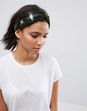 Asos Embroidered Velvet Headband