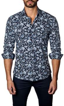 Jared Lang Trim Fit Damask Floral Sport Shirt
