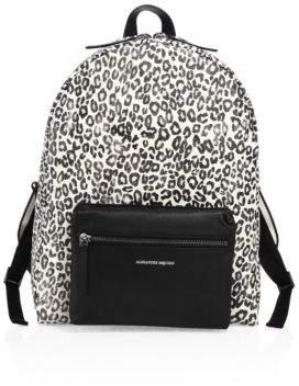 Alexander McQueen Tech Leopard-Print Leather Backpack