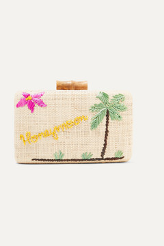 Kayu - Embroidered Woven Raffia Clutch - Neutral