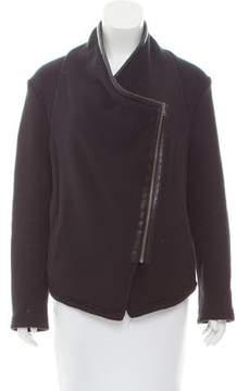 BB Dakota Faux Leather-Trimmed Asymmetrical Jacket