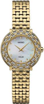 Seiko Women's Solar Tressia Diamond-Accent Gold-Tone Stainless Steel Bracelet Watch 29mm