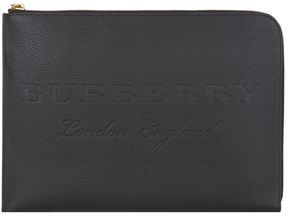 Burberry Large Grained Leather Document Pouch