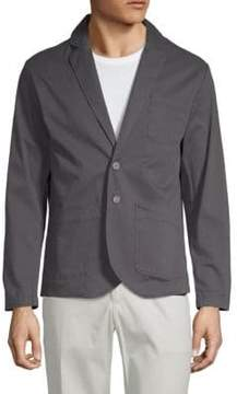 Saks Fifth Avenue BLACK Twill Notch Lapel Blazer