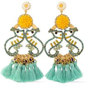 Elizabeth Cole Tasseled Gold-Tone Crystal And Stone Earrrings