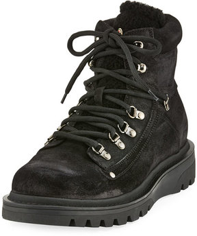 Moncler Egide Suede Hiking Boot with Shearling Trim, Black