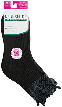 Asstd National Brand Berkshire Non Binding 3 Pair Ankle Socks - Womens