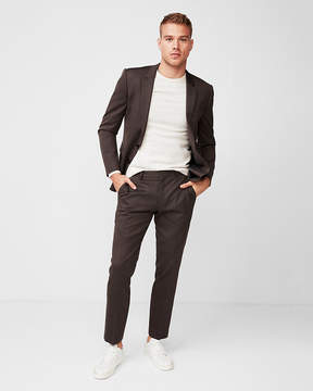 Express Extra Slim Brown Wool-Blend Suit Pant