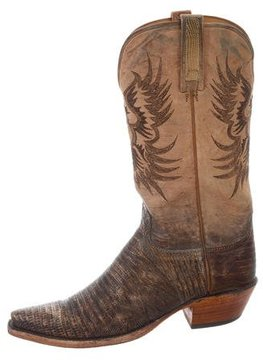 Lucchese Lizard-Trimmed Cowboy Boots