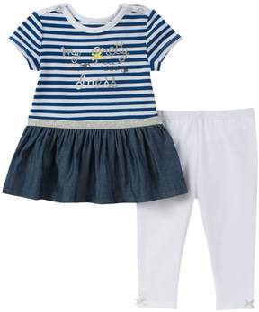 Absorba Stripes & Bow Tunic & Leggings - Light/Pastel Blue, Size 0-3m