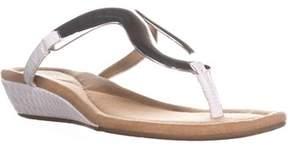 Alfani A35 Faryn Thong Low Wedge Flip Flops, White.