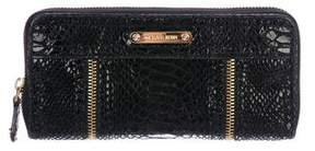 Michael Kors Embossed Suede Continental Wallet - BLACK - STYLE