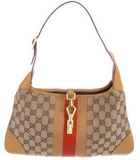 Gucci GG Canvas Jackie Shoulder Bag - BROWN - STYLE