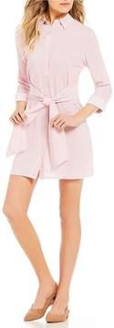 Copper Key Stripe Long-Sleeve Tie Front Shirt Dress