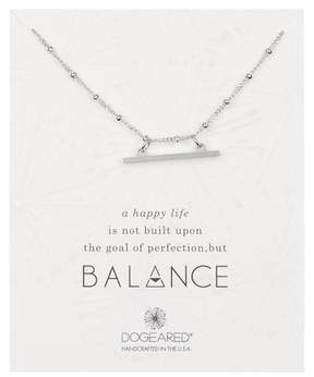 Dogeared Sterling Silver 'Balance' Beaded Horizontal Bar Pendant Necklace