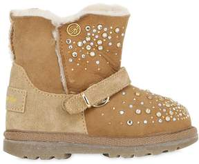 Miss Blumarine Embellished Suede & Shearling Boots