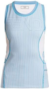 Fendi Logo-print striped performance tank top