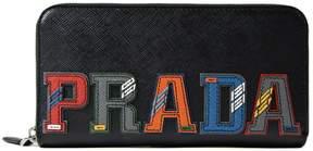Prada Logo Zip Around Wallet