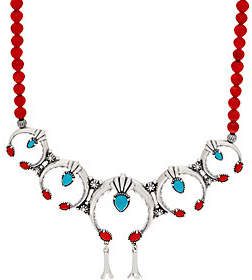 American West Multi Gemstone Sterling Naja BeadNecklace