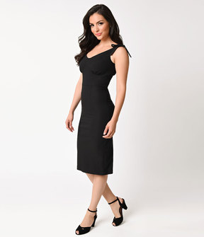 Stop Staring 1950s Style Black Stretch Sleeveless Chandler Wiggle Dress