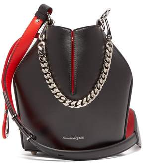 Alexander McQueen Geometric Leather Bucket Bag - Womens - Black Red