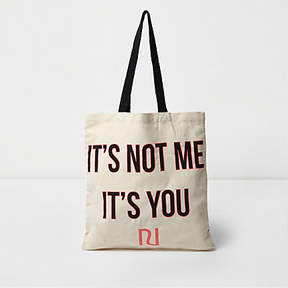 River Island Beige 'it's not me it's you' shopper tote bag
