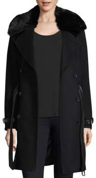 Andrew Marc Trench Coat with Detachable Fur Collar