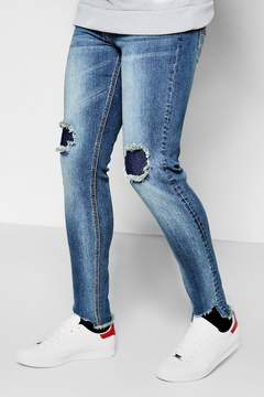 boohoo Mid Blue Skinny Fit Jeans With Tonal Repair