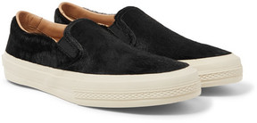 Dries Van Noten Suede-Trimmed Calf Hair Slip-On Sneakers
